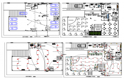 Electrical installation plan of coffee bar dwg file