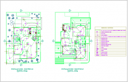 Electrical installation plan of duplex house dwg file