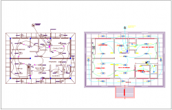 Electrical installation plan of health center dwg file