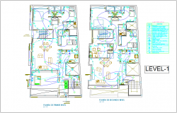 Electrical installation plan of house for first level dwg file