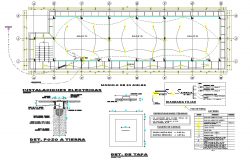 Electrical installation plan with its legend of class room dwg file