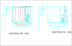 Electrical installation view of material delivery office of government dwg file