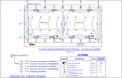 Electrical installation view with its legend for collage plan dwg file