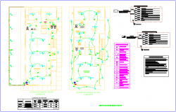 Electrical installation view with its legend of maternity and pediatric care center dwg file