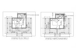 Electrical layout and sanitary installation details of cottage house dwg file