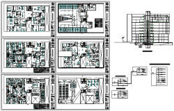 Electrical layout multi family building design drawing