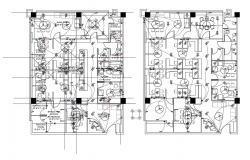 Electrical layout plan and furniture layout plan details of office floors dwg file