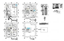 Electrical layout plan details of all floors of apartment building dwg file