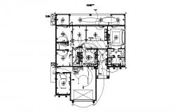 Electrical layout plan of the house with detail dimension in dwg file