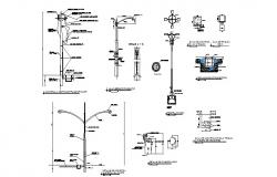 Electrical light poles of hospital elevation and installation details dwg file