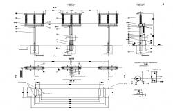 Electrical pole detail 2d view CAD structural block layout file in autocad format
