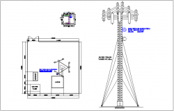 Electrical view for 0.6 MW antenna tower dwg file