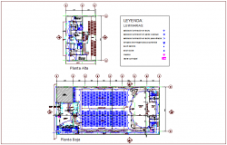 Electrical view of floor plan of municipal building dwg file