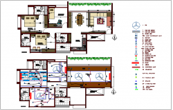 Electrical view with electrical  legend of house design with house plan dwg file
