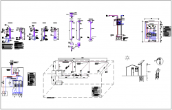 Electrical view with its legend for solar panel system dwg file