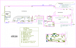 Electrical view with legend for office area dwg file