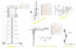 Elevated tank dwg drawing and plan