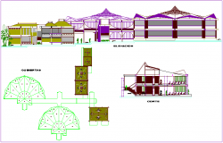 Elevation,section and roof plan of school dwg file