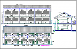 Elevation,side view and section view of education building dwg file