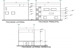 Elevation Building of three levels plan detail dwg file