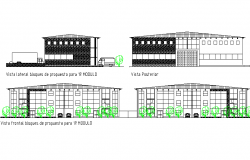 Elevation Center in section vehicle detail dwg file