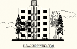 Elevation Drawing of Multi-storey residential building in dwg file