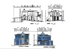 Elevation Drawing of Villa in dwg file