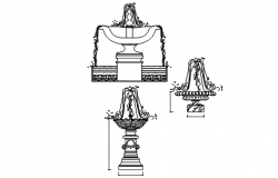 Elevation Fountain working plan detail dwg file