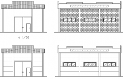 Elevation Industrial house plan detail dwg file