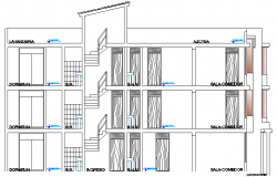 Elevation Plan Details of Multi Family Housing Project dwg file