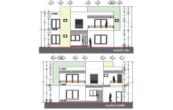 Elevation Residential house plan dwg file