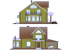 Elevation Small family house plan autocad file
