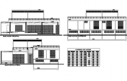 Elevation Temporary house plan detail dwg file