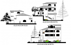 Elevation Terraced houses detail dwg file