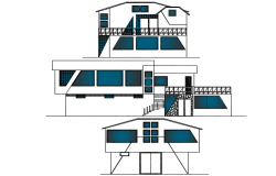 Elevation Thermal hot baths plan detail dwg file