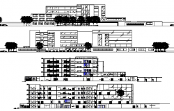 Elevation and Section Details of Multi-Specialty Hospital dwg file
