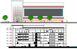 Elevation and Section Details of Recovery Rehabilitation Center dwg file