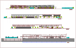 Elevation and different axis section view for 300 bed hospital dwg file