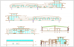 Elevation and different axis section view for Volkswagen car showroom dwg file