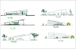Elevation and different axis section view for art gallery building dwg file