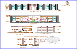 Elevation and different axis section view for collage building dwg file
