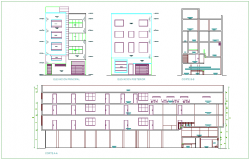 Elevation and different axis section view for hotel building dwg file