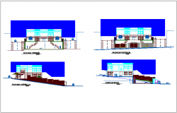 Elevation and different axis section view for multi purpose use center dwg file