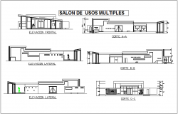 Elevation and different axis section view for multi purpose use room dwg file