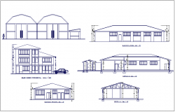 Elevation and different axis section view for plant area of industrial workshop building dwg file