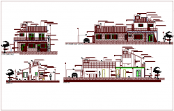Elevation and different axis section view for residence building dwg file