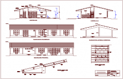 Elevation and different axis section view for rural medical area dwg file