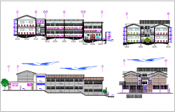 Elevation and different axis section view for school building dwg file