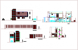 Elevation and different axis section view for single story apartment dwg file