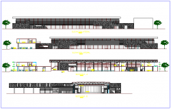 Elevation and different axis section view of  convention center for university dwg file